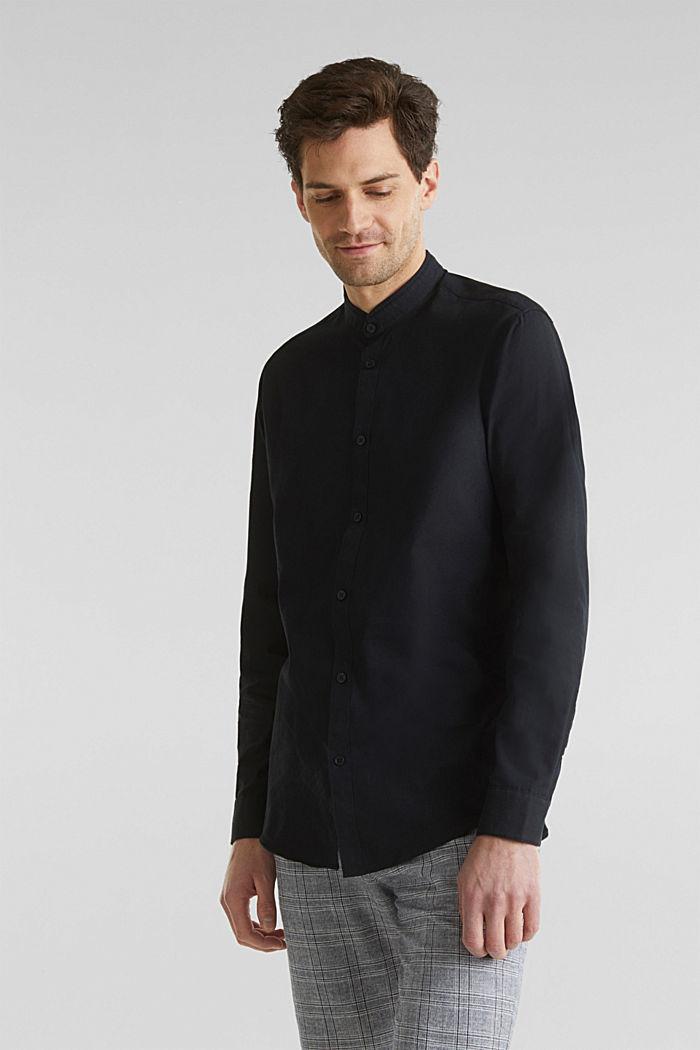 Leinen-Mix: Hemd mit Stehkragen, BLACK, detail image number 0