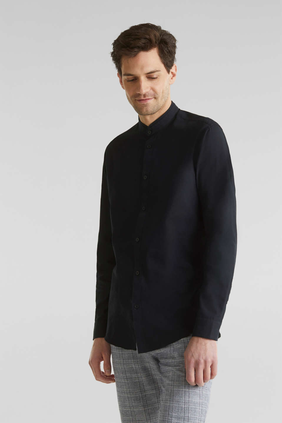 Linen blend: shirt with a stand-up collar, BLACK, detail image number 0