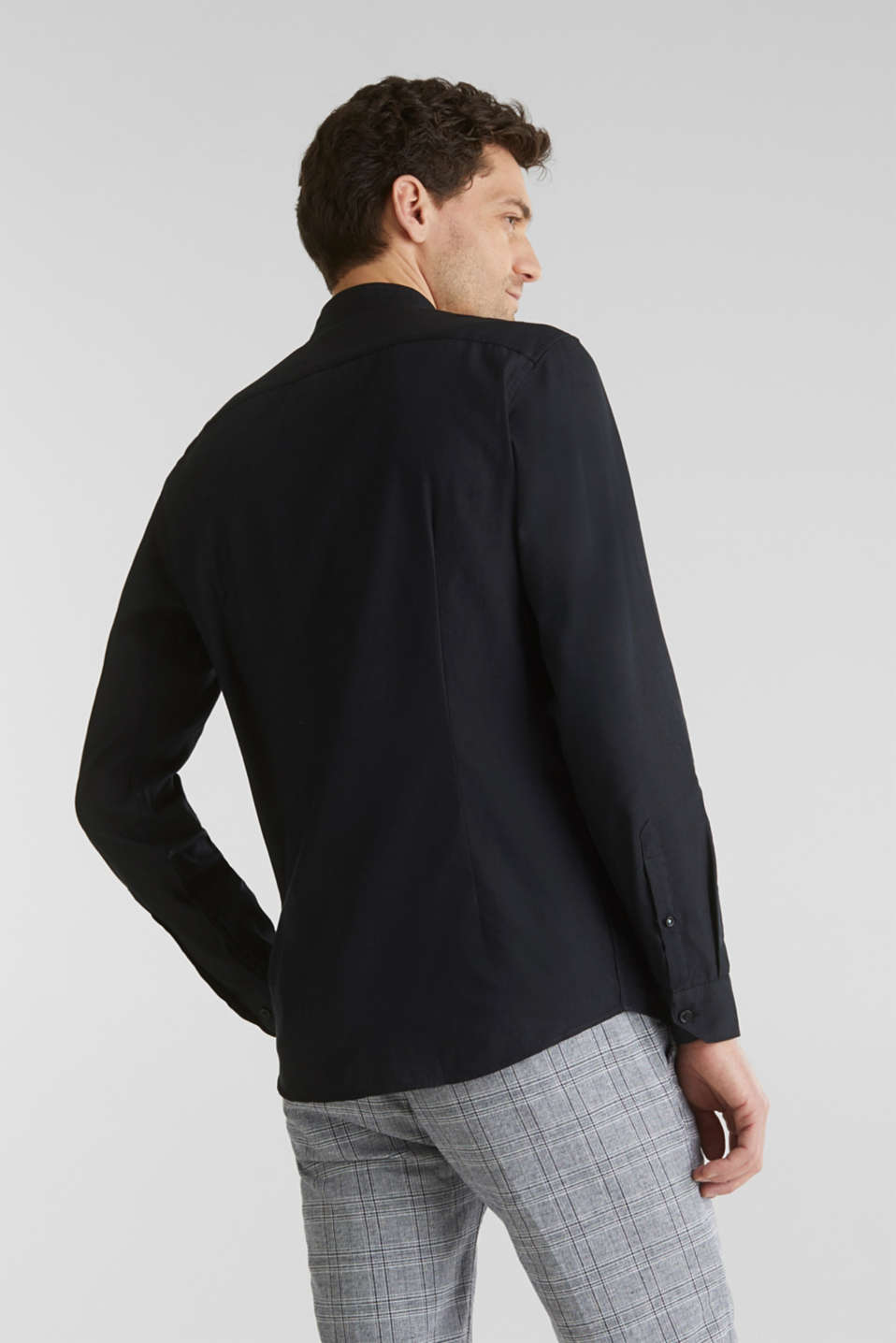 Linen blend: shirt with a stand-up collar, BLACK, detail image number 3
