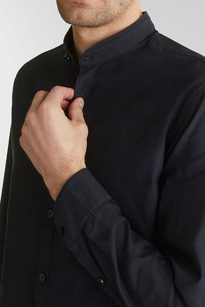 Leinen-Mix: Hemd mit Stehkragen, BLACK, detail image number 2