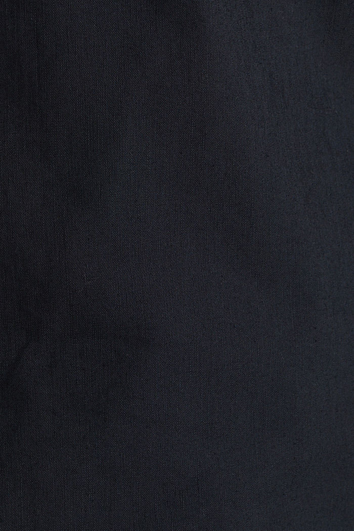 Leinen-Mix: Hemd mit Stehkragen, BLACK, detail image number 4