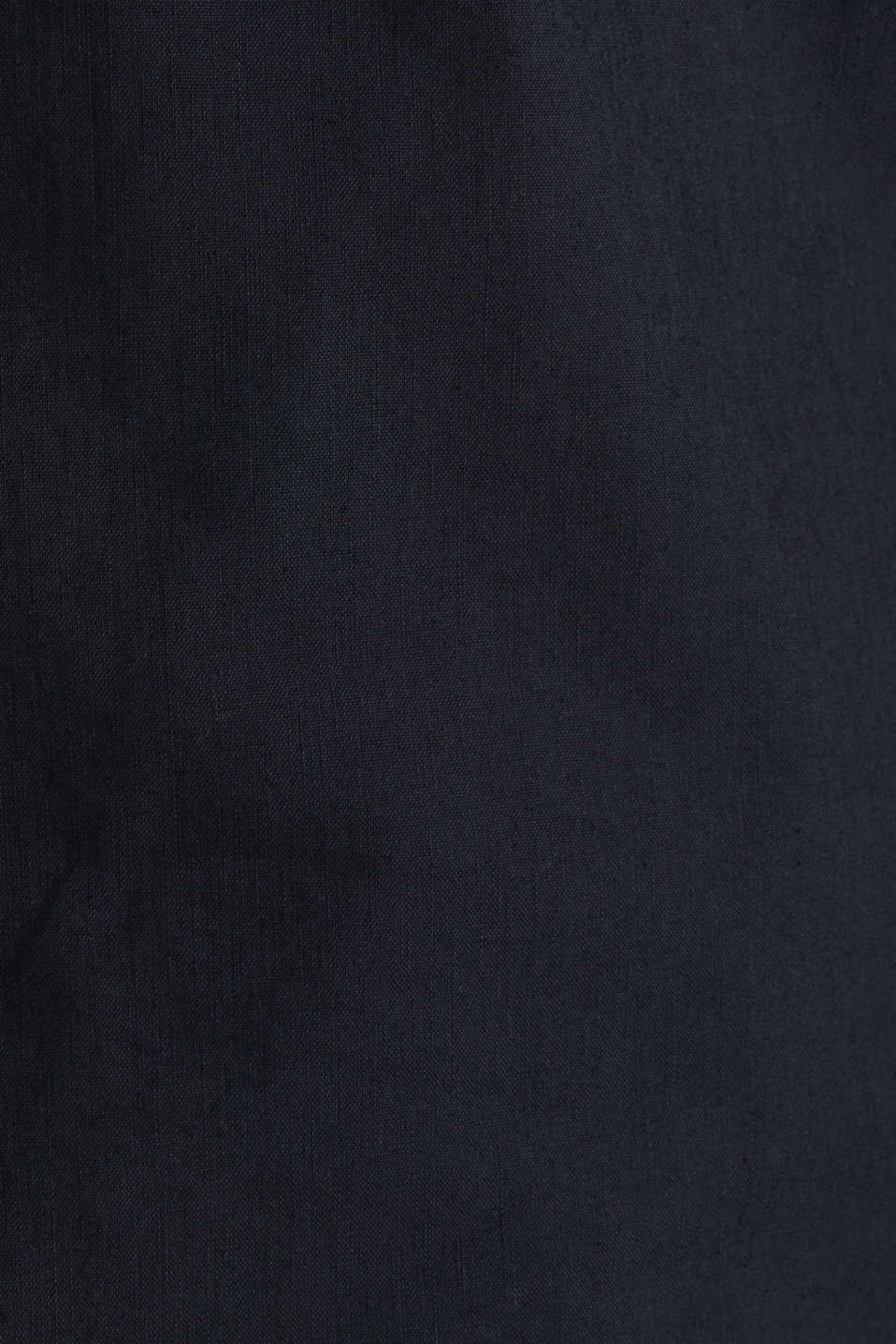 Linen blend: shirt with a stand-up collar, BLACK, detail image number 4