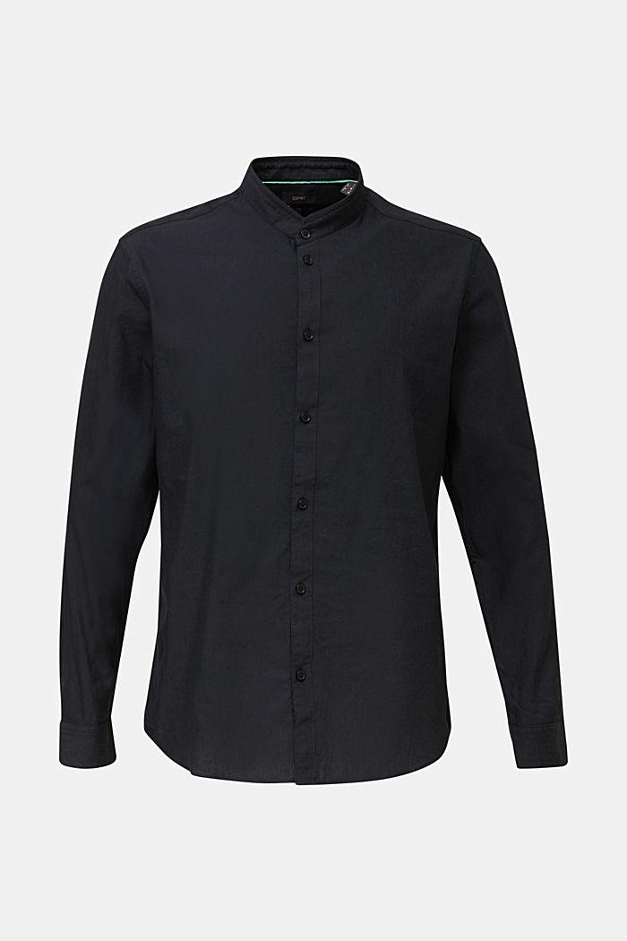 Linen blend: shirt with a stand-up collar