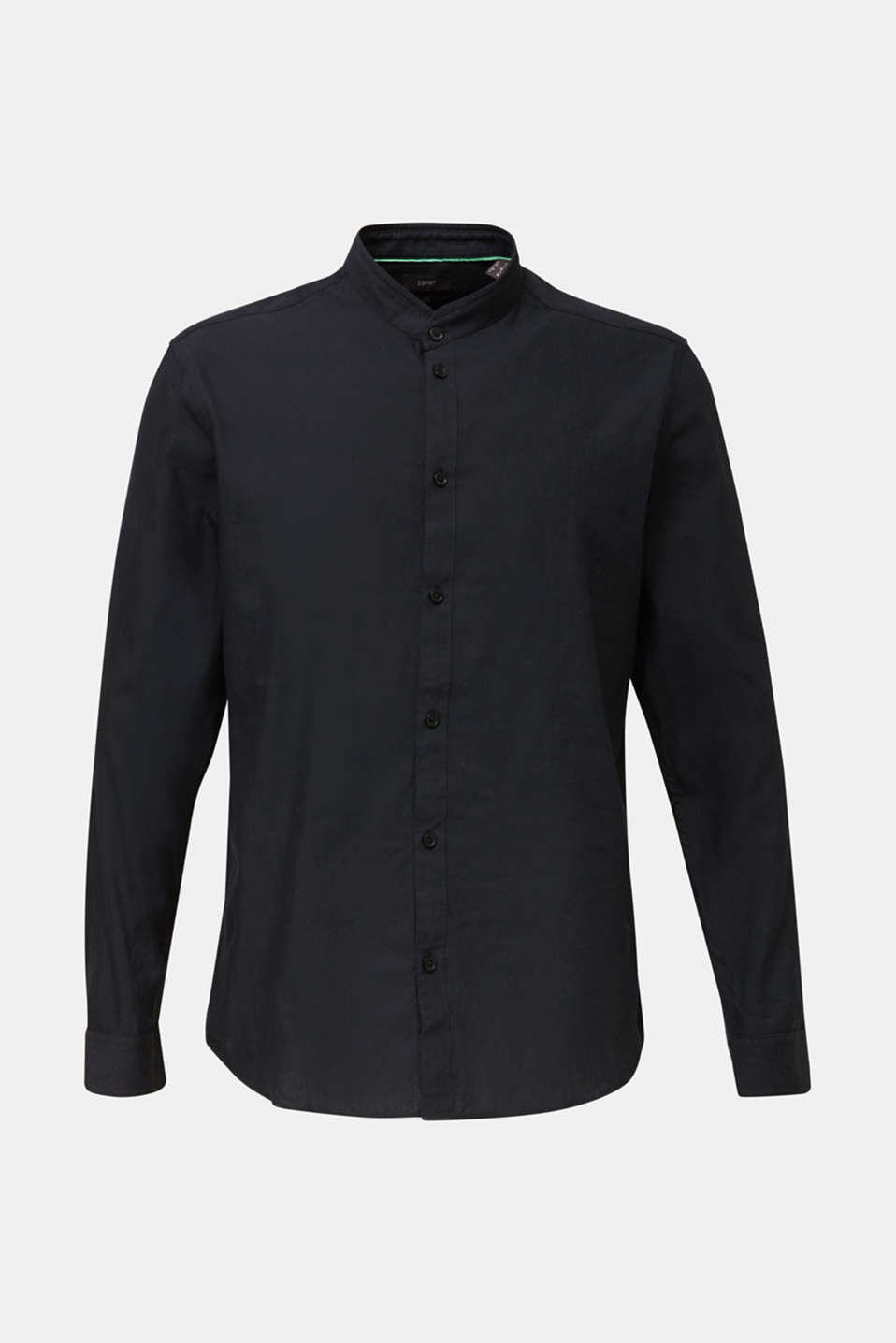 Linen blend: shirt with a stand-up collar, BLACK, detail image number 6