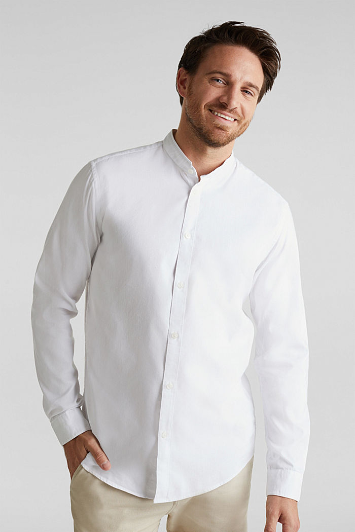 Linen blend: shirt with a stand-up collar, WHITE, detail image number 0