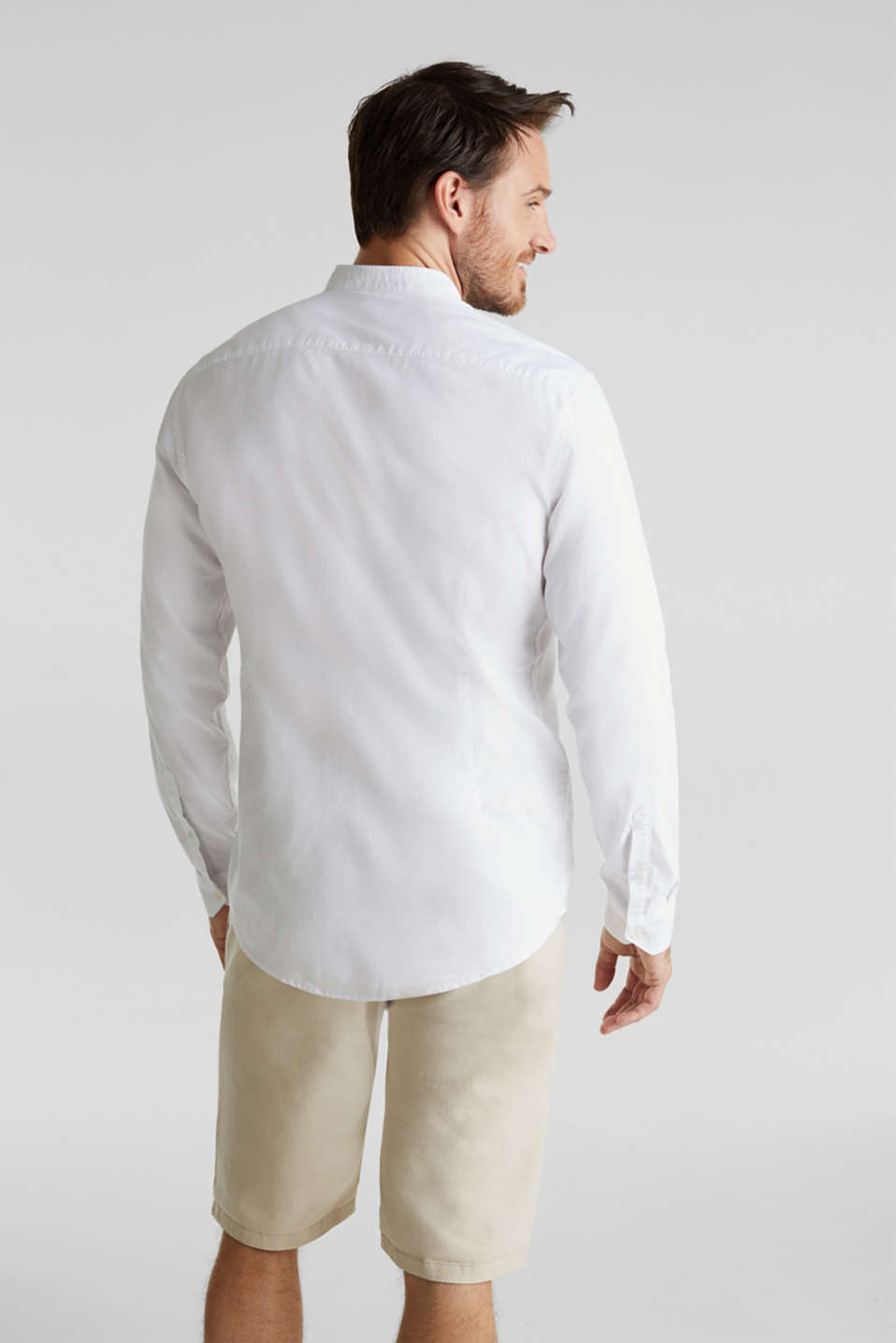 Linen blend: shirt with a stand-up collar, WHITE, detail image number 3