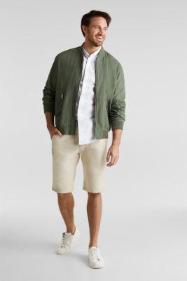 Linen blend: shirt with a stand-up collar, WHITE, detail