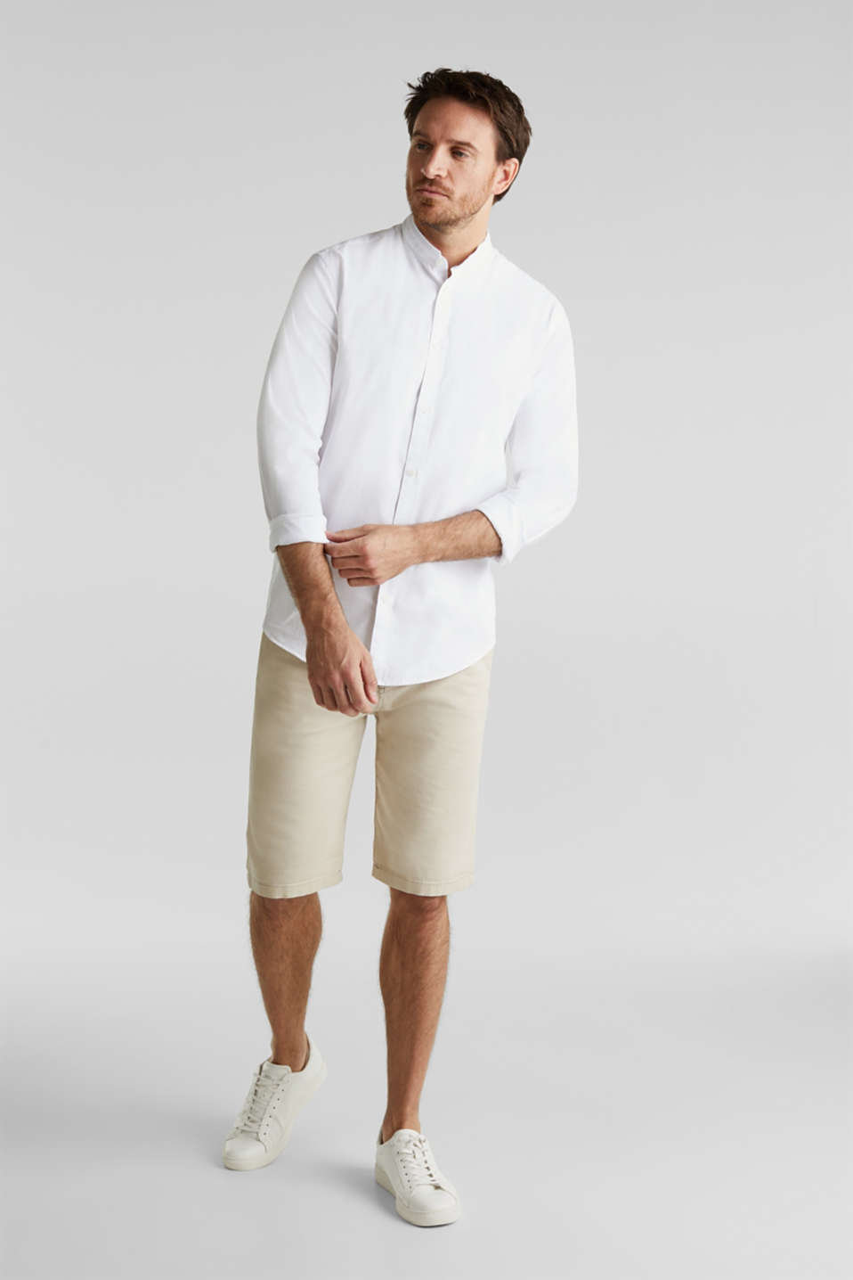 Linen blend: shirt with a stand-up collar, WHITE, detail image number 5