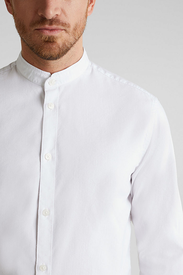 Linen blend: shirt with a stand-up collar, WHITE, detail image number 2