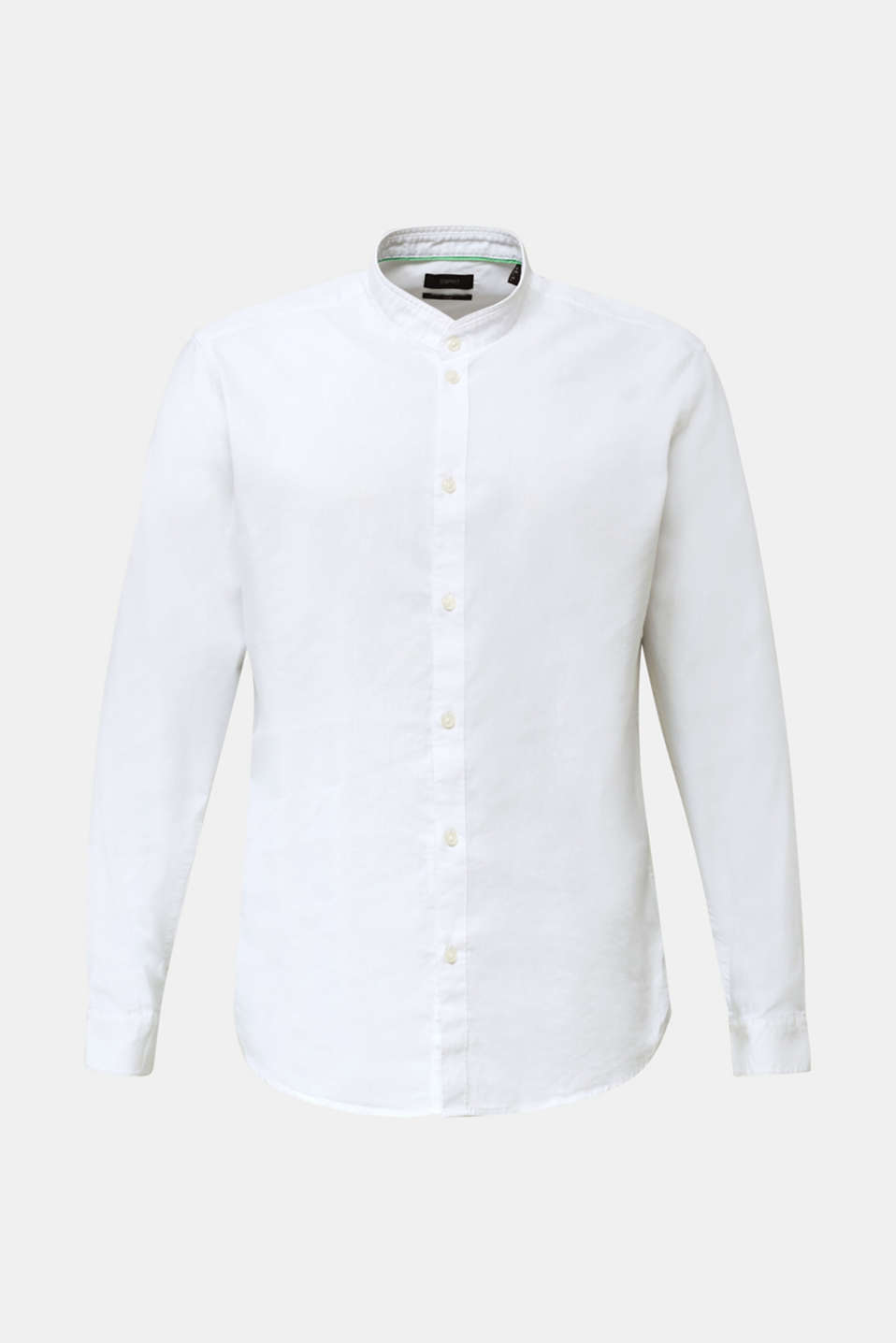 Linen blend: shirt with a stand-up collar, WHITE, detail image number 6