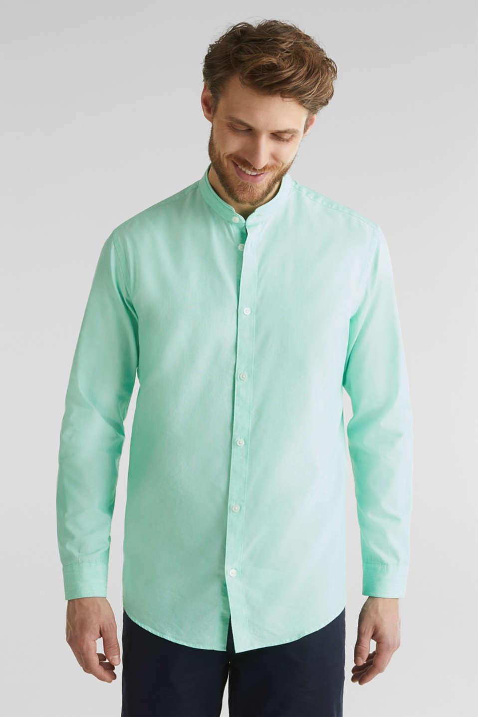 Linen blend: shirt with a stand-up collar, LIGHT GREEN 5, detail image number 0