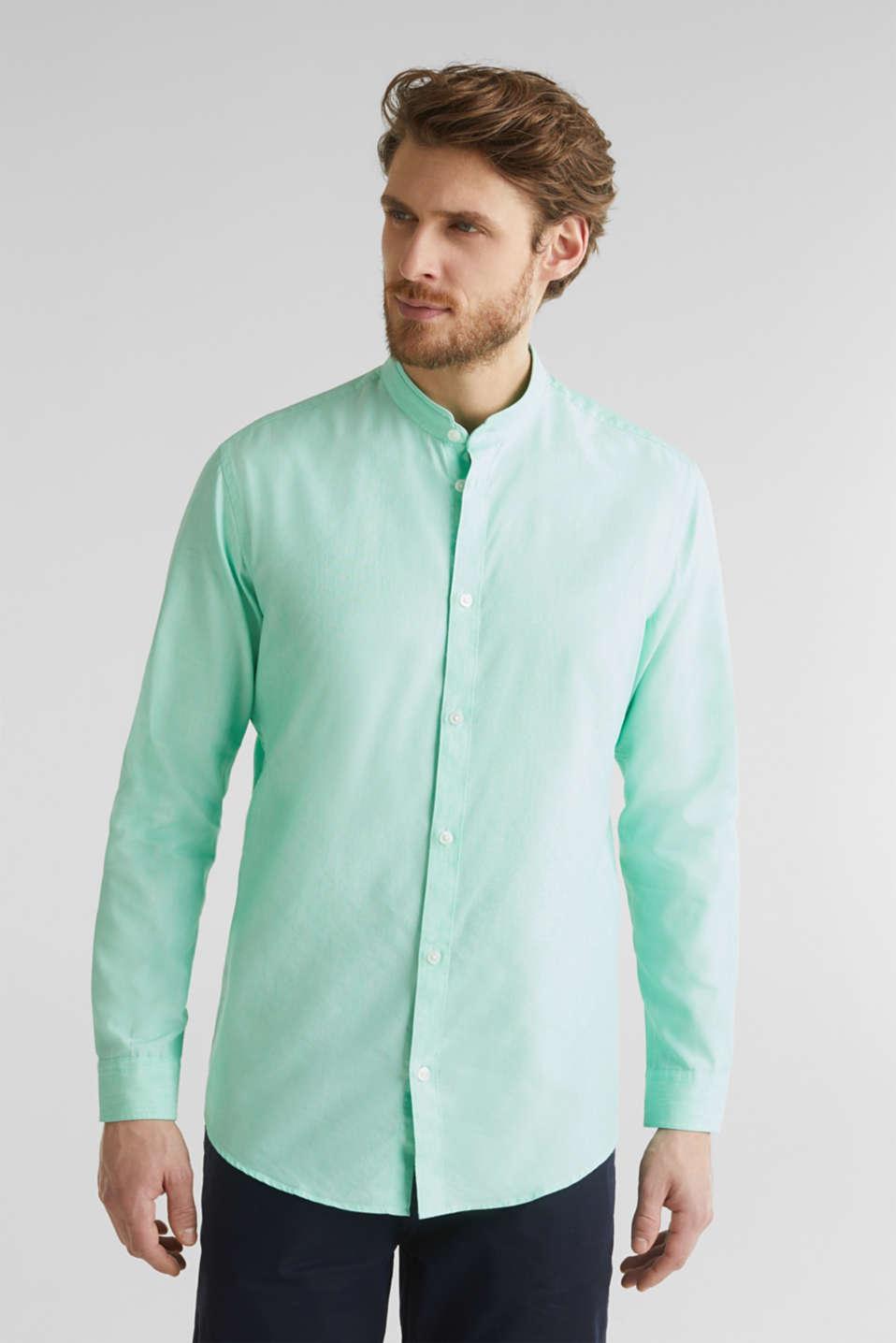 Linen blend: shirt with a stand-up collar, LIGHT GREEN 5, detail image number 6
