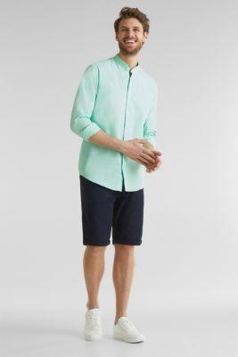 Linen blend: shirt with a stand-up collar, LIGHT GREEN 5, detail