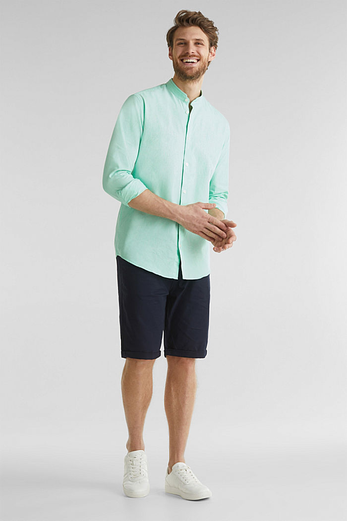 Linen blend: shirt with a stand-up collar, LIGHT GREEN, detail image number 1