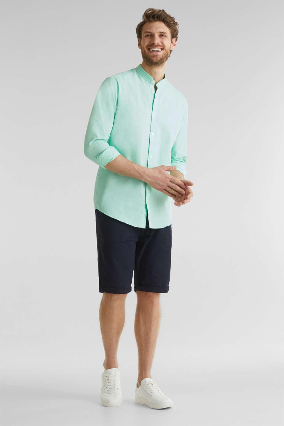 Linen blend: shirt with a stand-up collar, LIGHT GREEN 5, detail image number 1