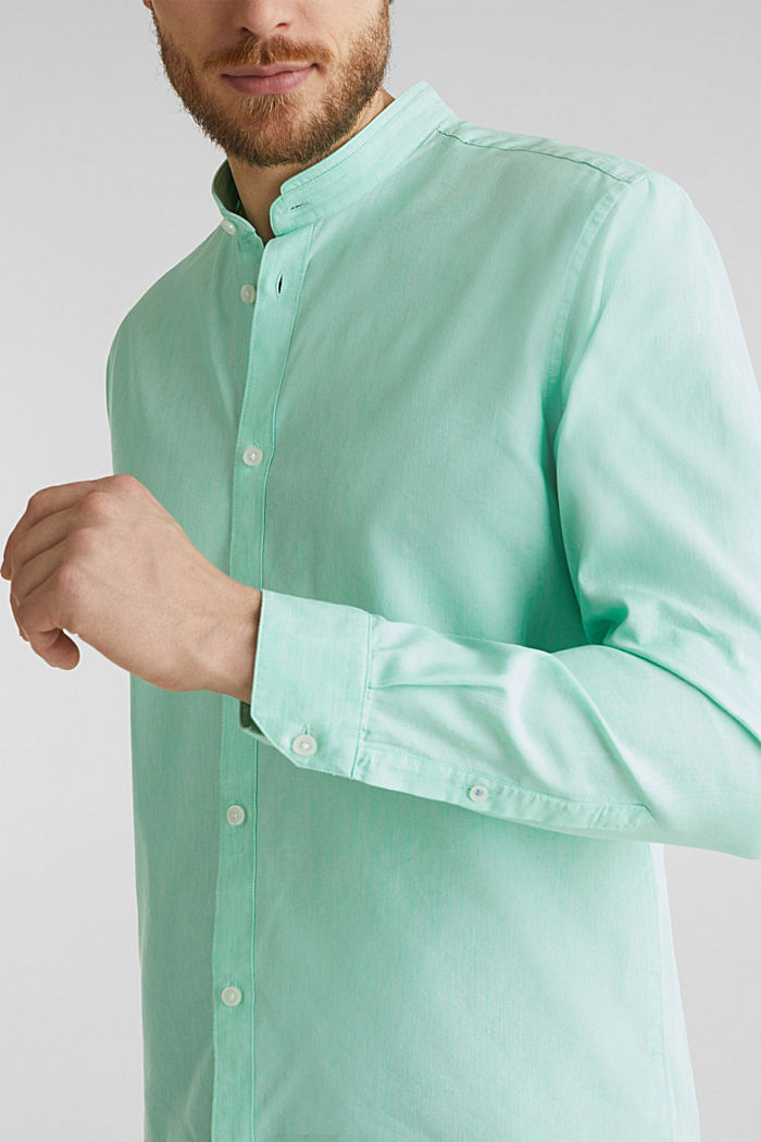 Linen blend: shirt with a stand-up collar, LIGHT GREEN, detail image number 2