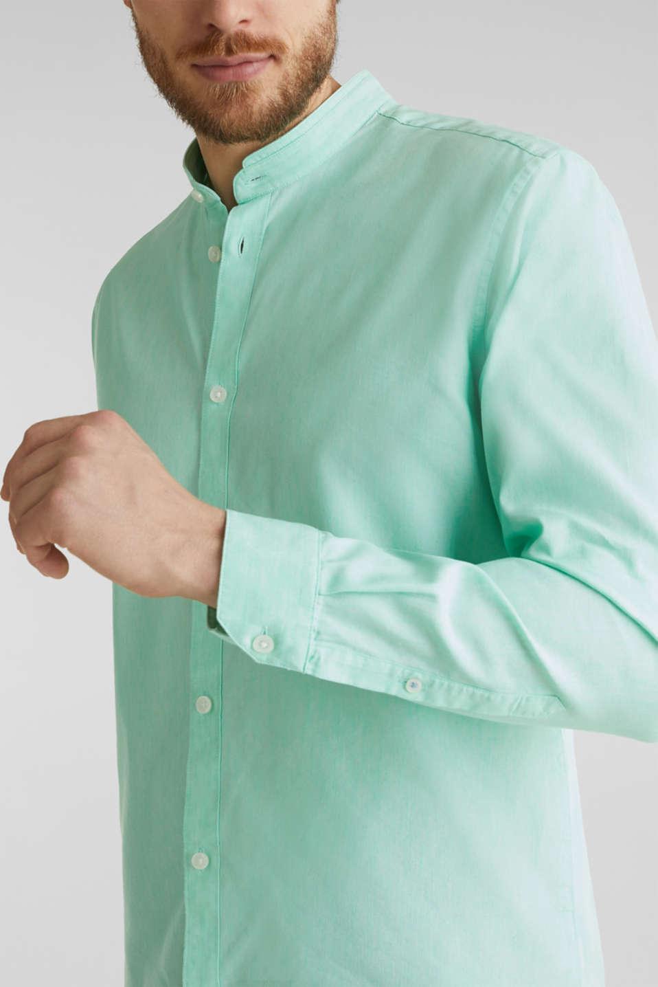 Linen blend: shirt with a stand-up collar, LIGHT GREEN 5, detail image number 2