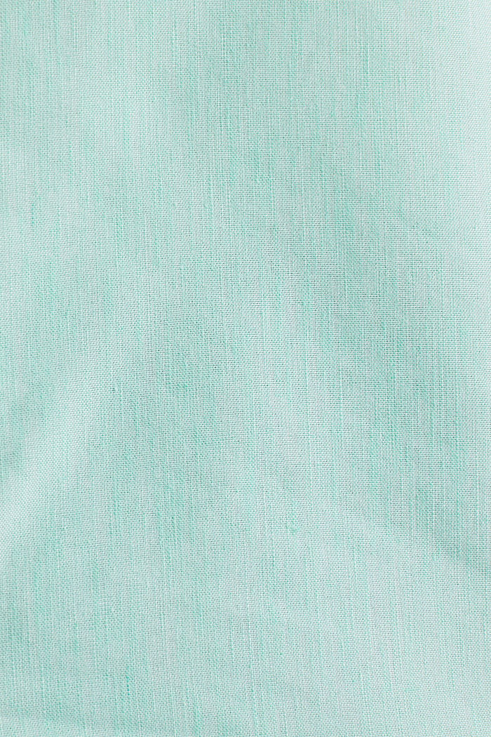 Linen blend: shirt with a stand-up collar, LIGHT GREEN, detail image number 4