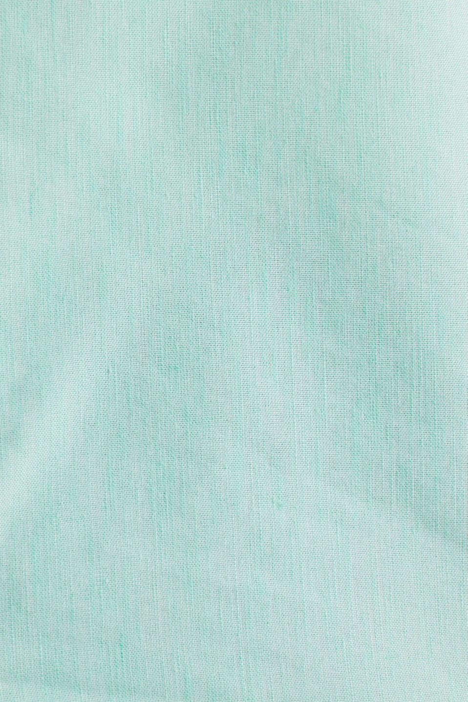 Linen blend: shirt with a stand-up collar, LIGHT GREEN 5, detail image number 4