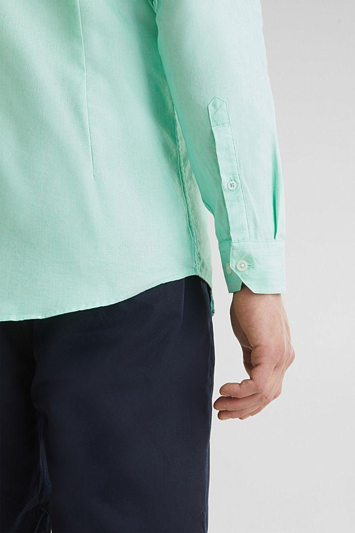 Linen blend: shirt with a stand-up collar, LIGHT GREEN, detail image number 5