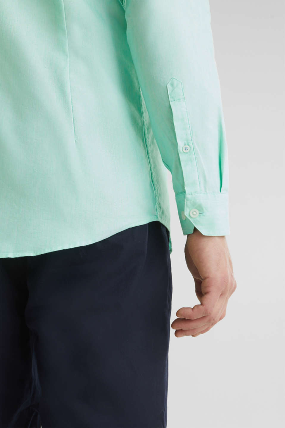 Linen blend: shirt with a stand-up collar, LIGHT GREEN 5, detail image number 5