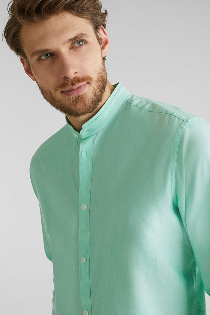 Linen blend: shirt with a stand-up collar, LIGHT GREEN, detail image number 7