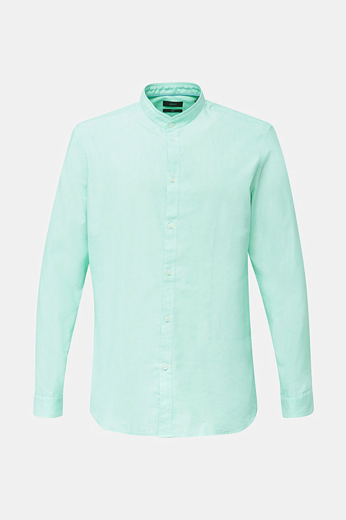 Linnenmix: overhemd met opstaande kraag