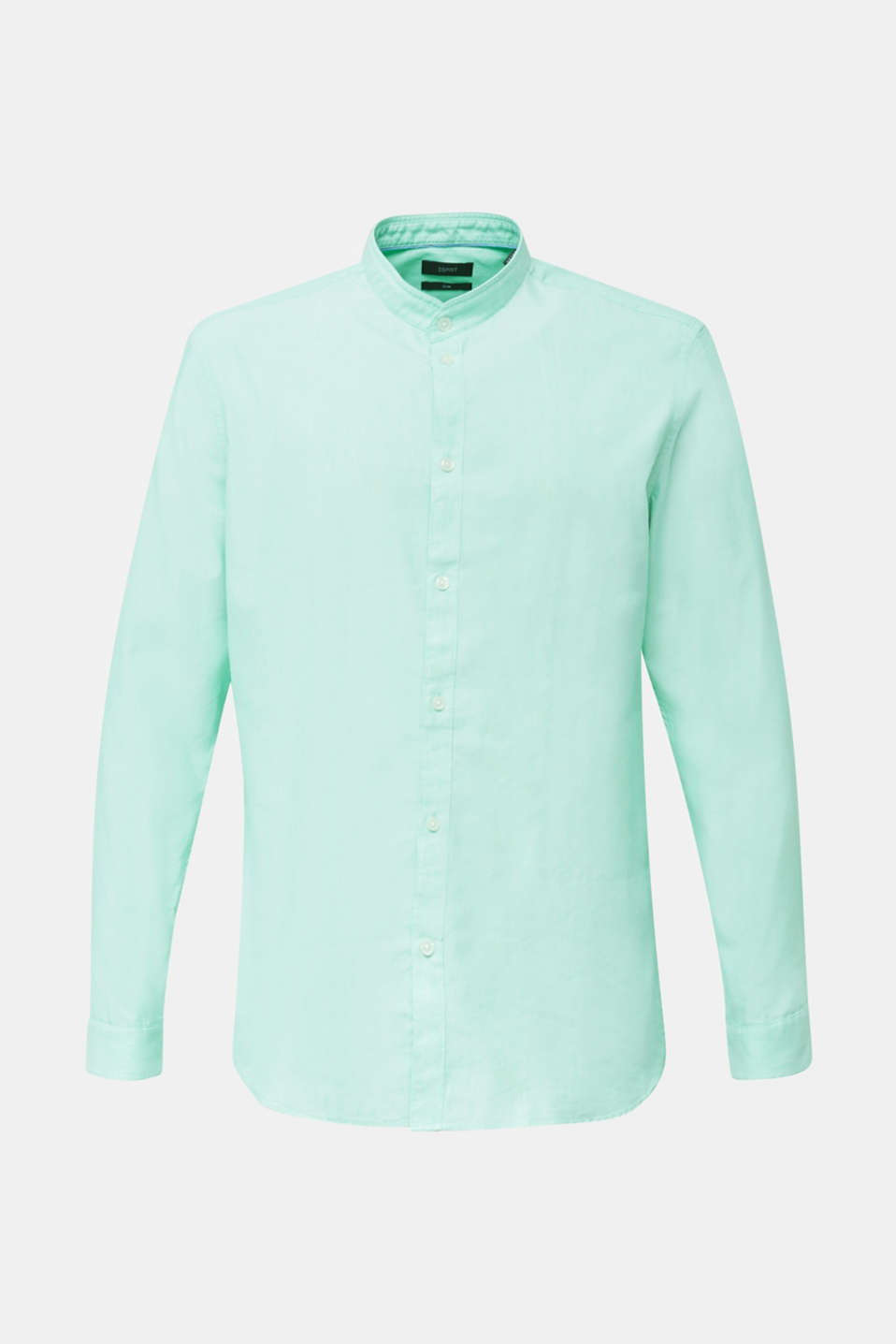 Linen blend: shirt with a stand-up collar, LIGHT GREEN 5, detail image number 8