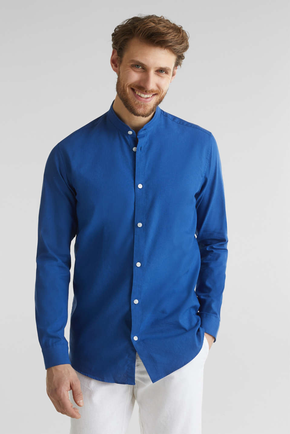 Linen blend: shirt with a stand-up collar, INK, detail image number 0