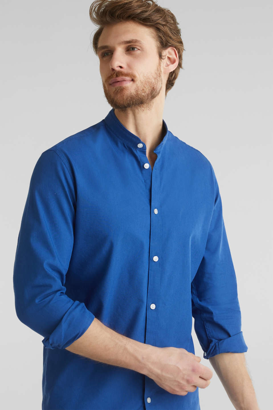 Linen blend: shirt with a stand-up collar, INK, detail image number 6