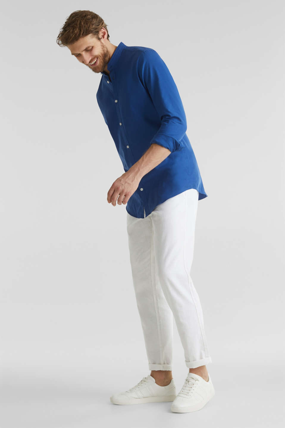 Linen blend: shirt with a stand-up collar, INK, detail image number 1