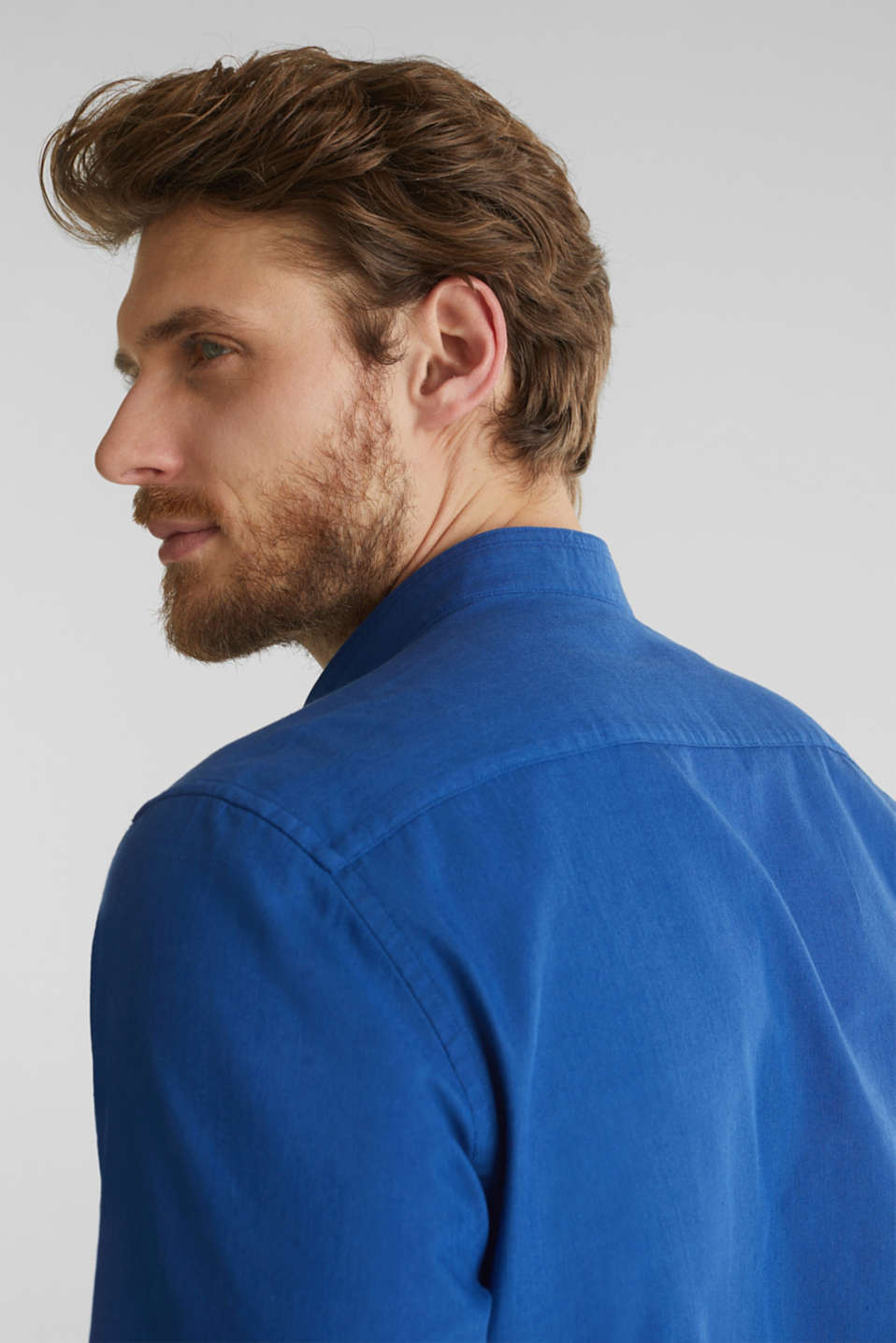 Linen blend: shirt with a stand-up collar, INK, detail image number 2