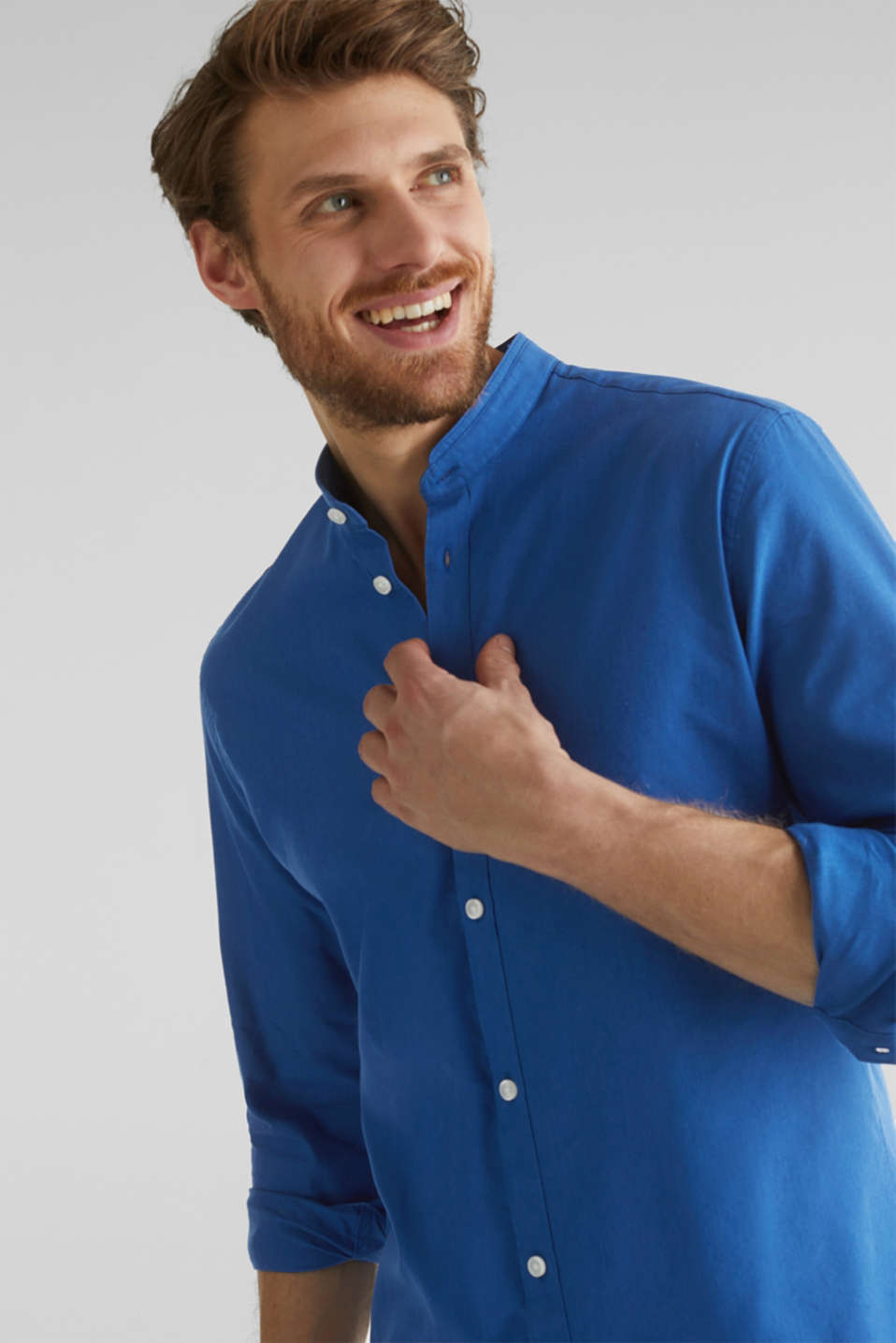 Linen blend: shirt with a stand-up collar, INK, detail image number 7