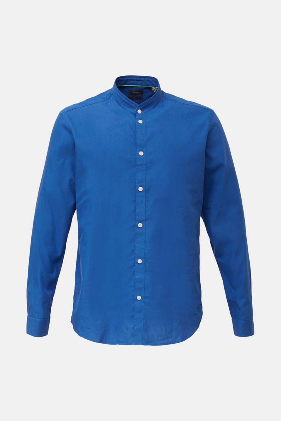 Linen blend: shirt with a stand-up collar, INK, detail image number 8