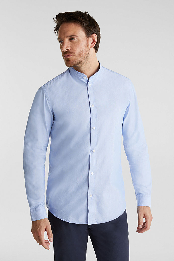 Linen blend: shirt with a stand-up collar, LIGHT BLUE, detail image number 0