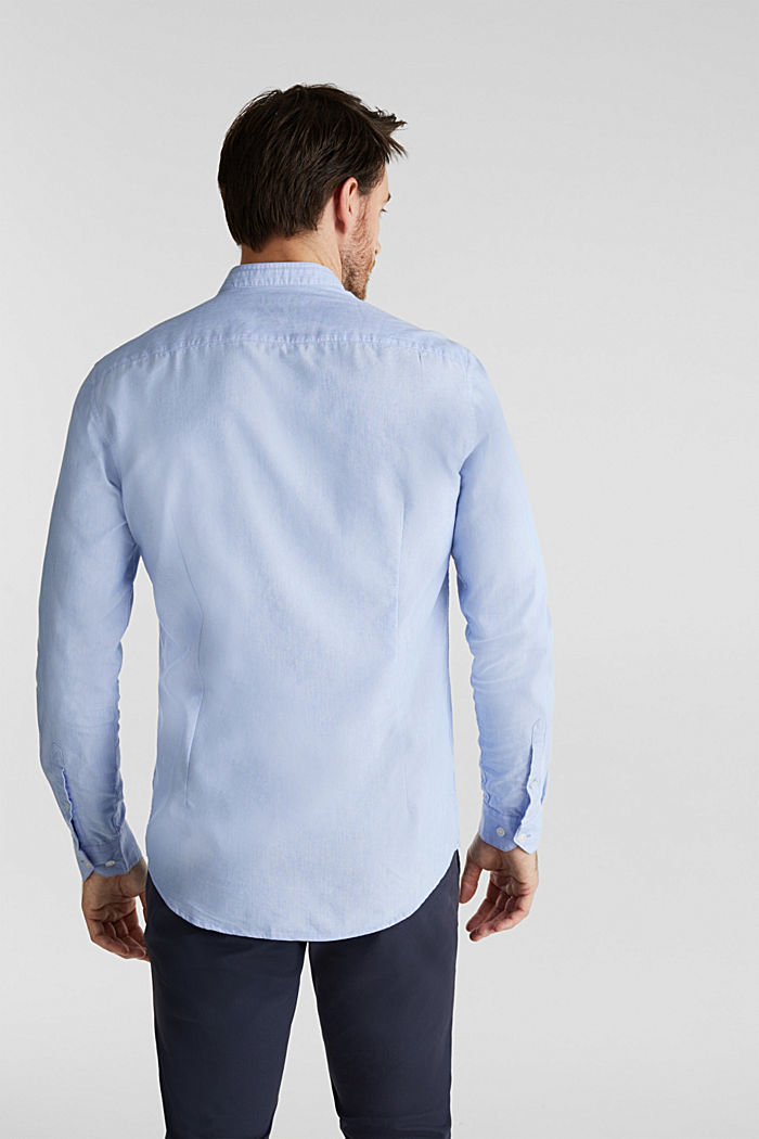 Linen blend: shirt with a stand-up collar, LIGHT BLUE, detail image number 3