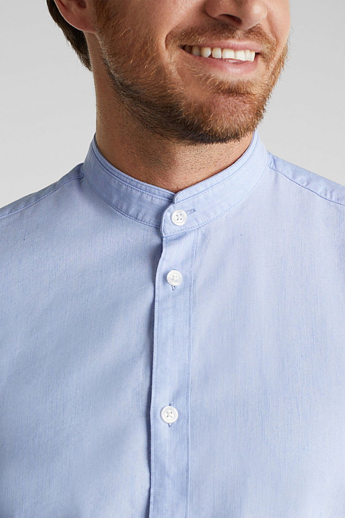 Linen blend: shirt with a stand-up collar, LIGHT BLUE, detail image number 2