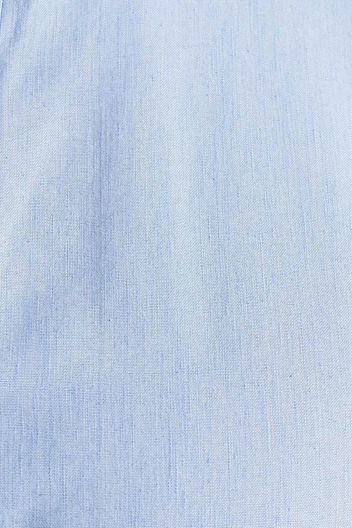 Linen blend: shirt with a stand-up collar, LIGHT BLUE, detail image number 4
