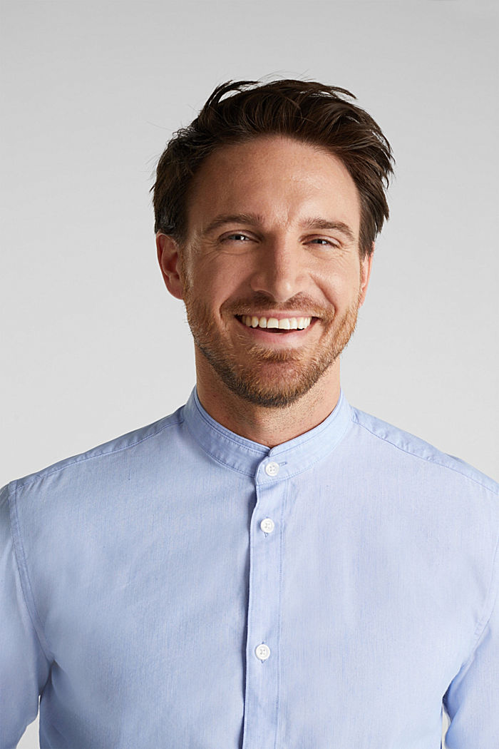 Linen blend: shirt with a stand-up collar, LIGHT BLUE, detail image number 5