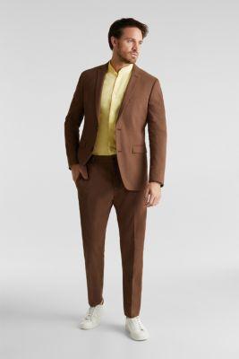 Linen blend: shirt with a stand-up collar, LIGHT YELLOW 5, detail