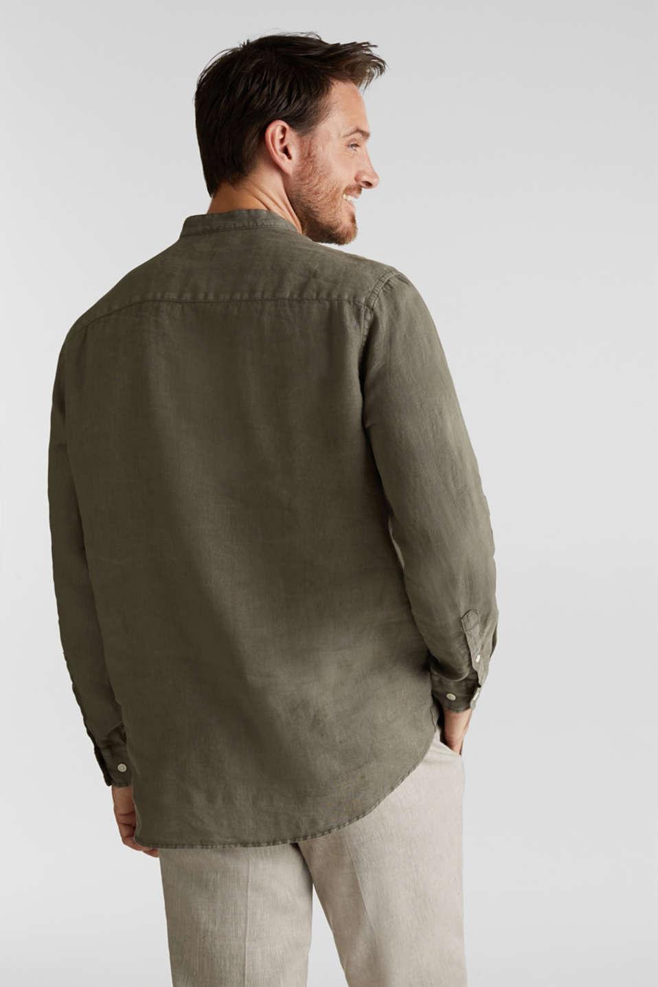 EarthColors®: Shirt, 100% linen, DARK KHAKI 2, detail image number 3