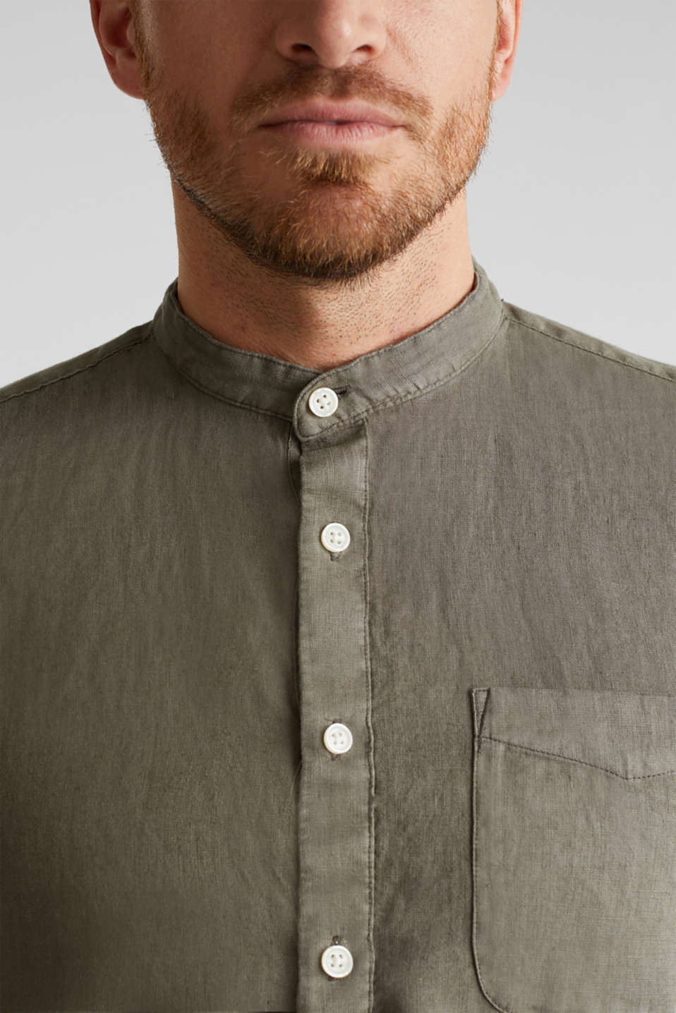 EarthColors®: Shirt, 100% linen, DARK KHAKI 2, detail image number 2