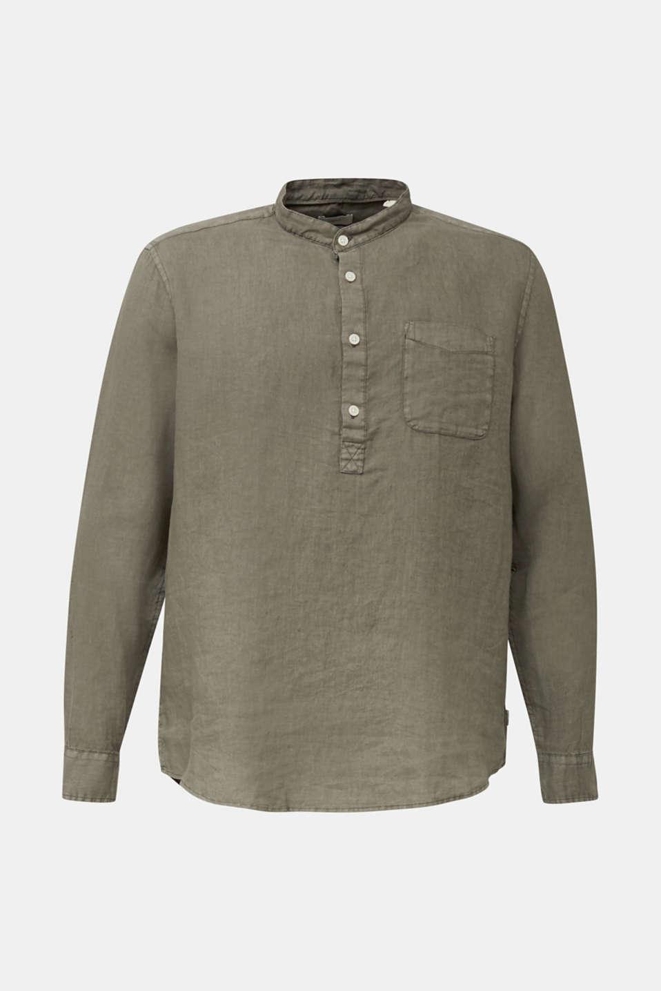 EarthColors®: Shirt, 100% linen, DARK KHAKI 2, detail image number 6