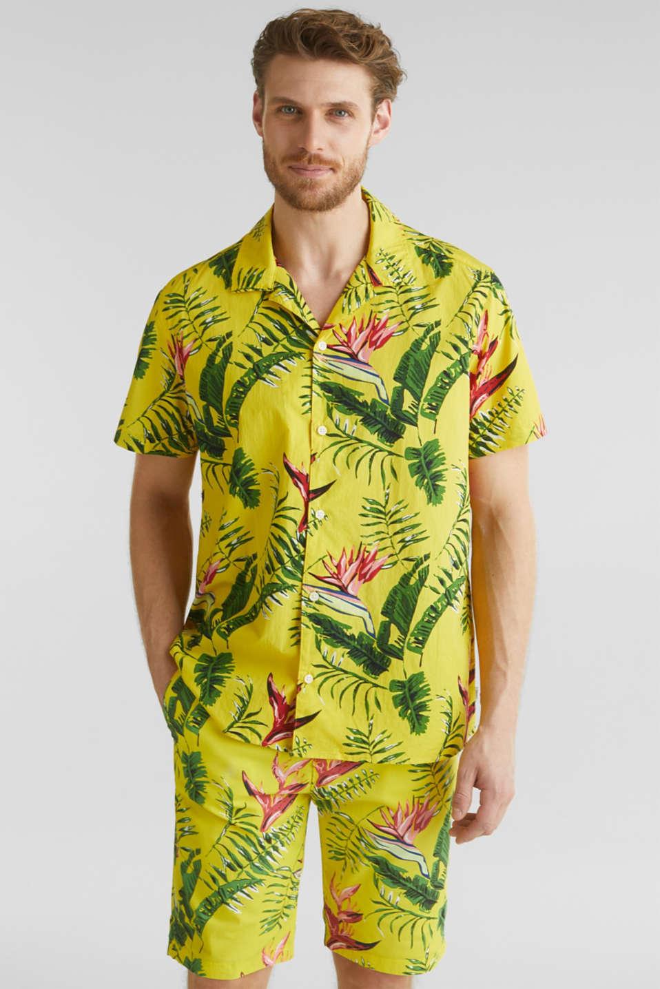 Hawaii shirt made of 100% organic cotton, LIGHT YELLOW 4, detail image number 0
