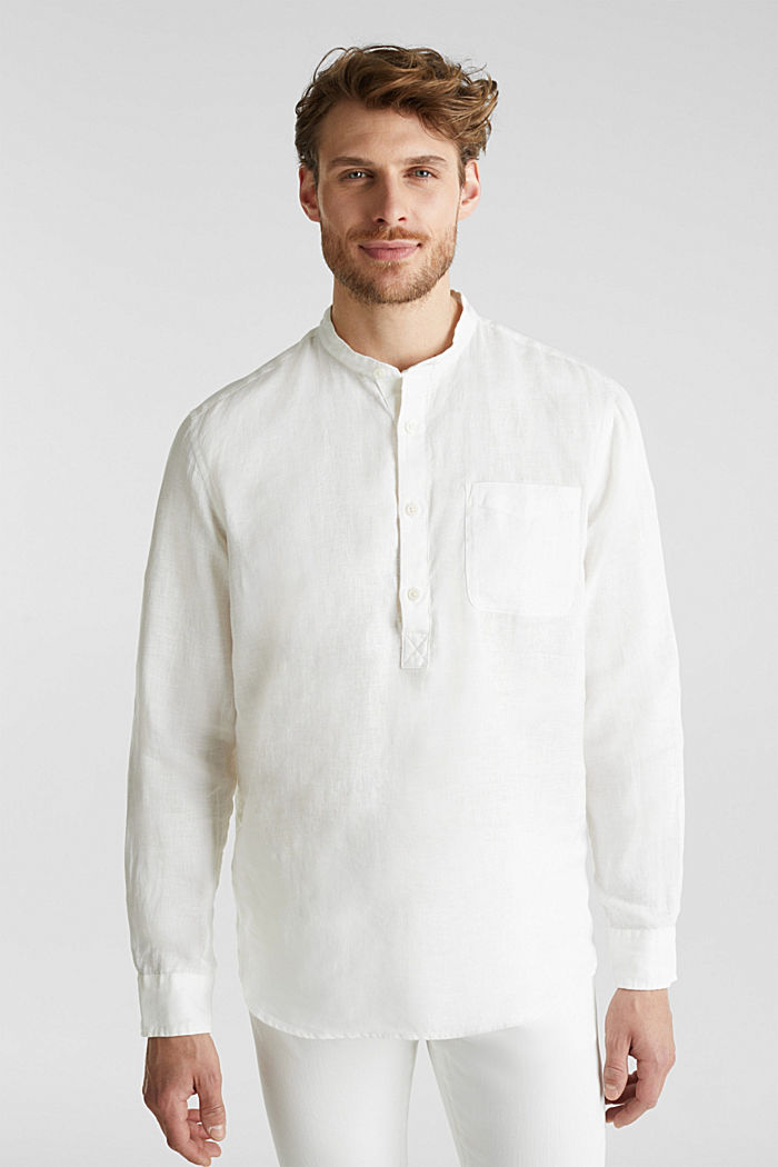 Made of linen: Shirt with a stand-up collar, OFF WHITE, detail image number 0