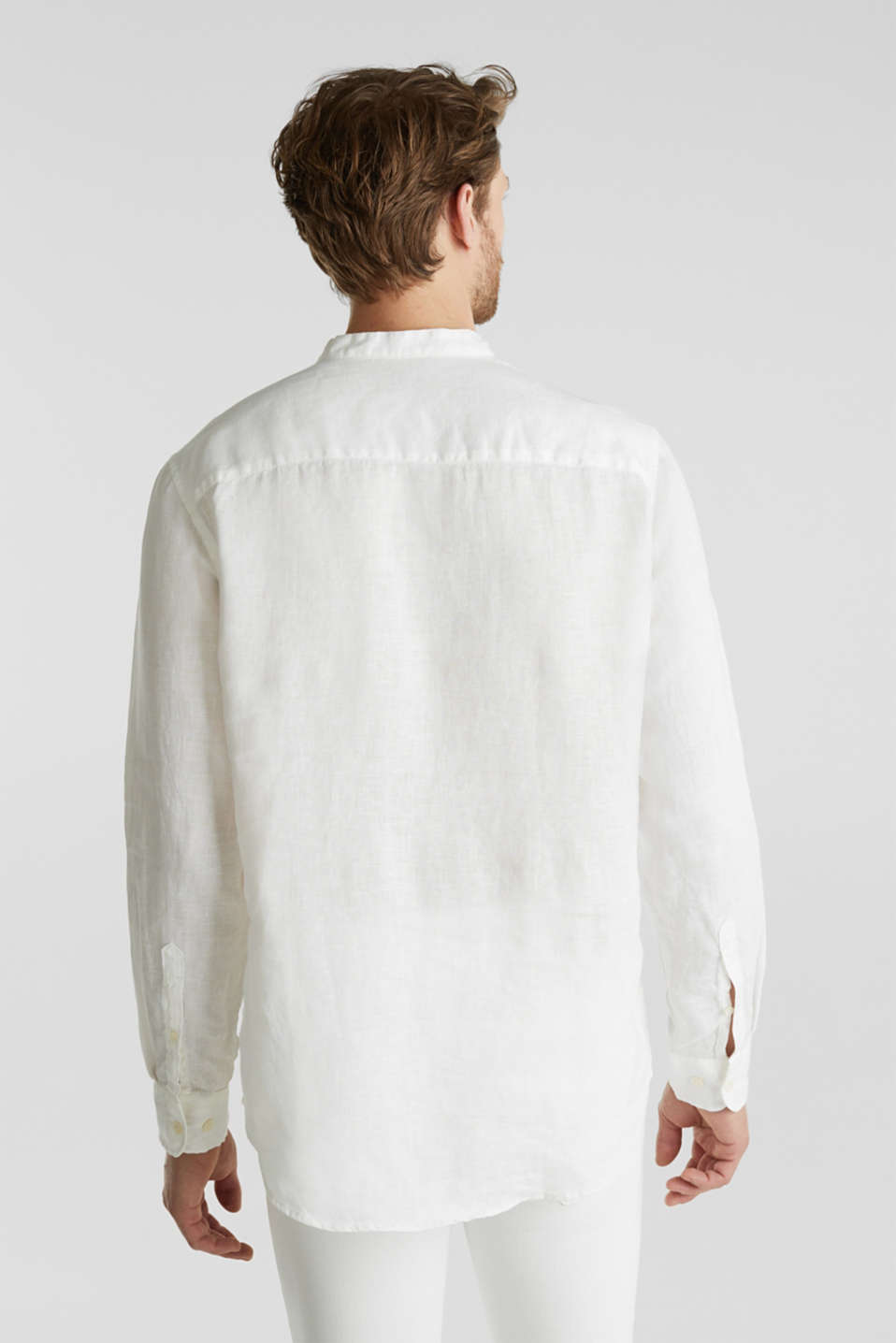 Made of linen: Shirt with a stand-up collar, OFF WHITE, detail image number 3