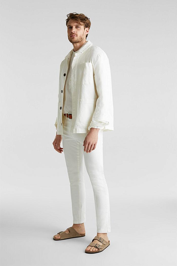 Aus Leinen: Hemd mit Stehkragen, OFF WHITE, detail image number 1