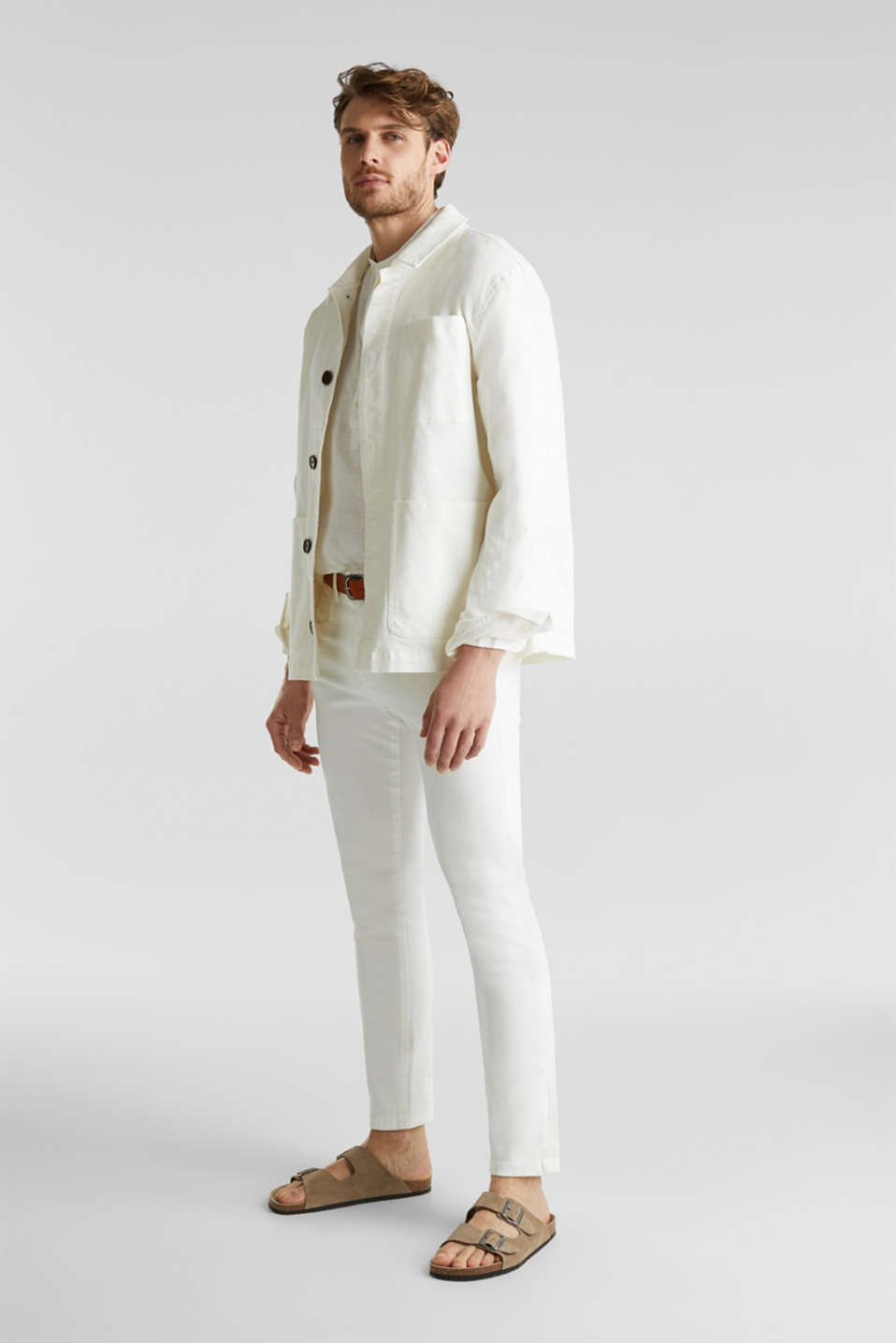 Made of linen: Shirt with a stand-up collar, OFF WHITE, detail image number 1