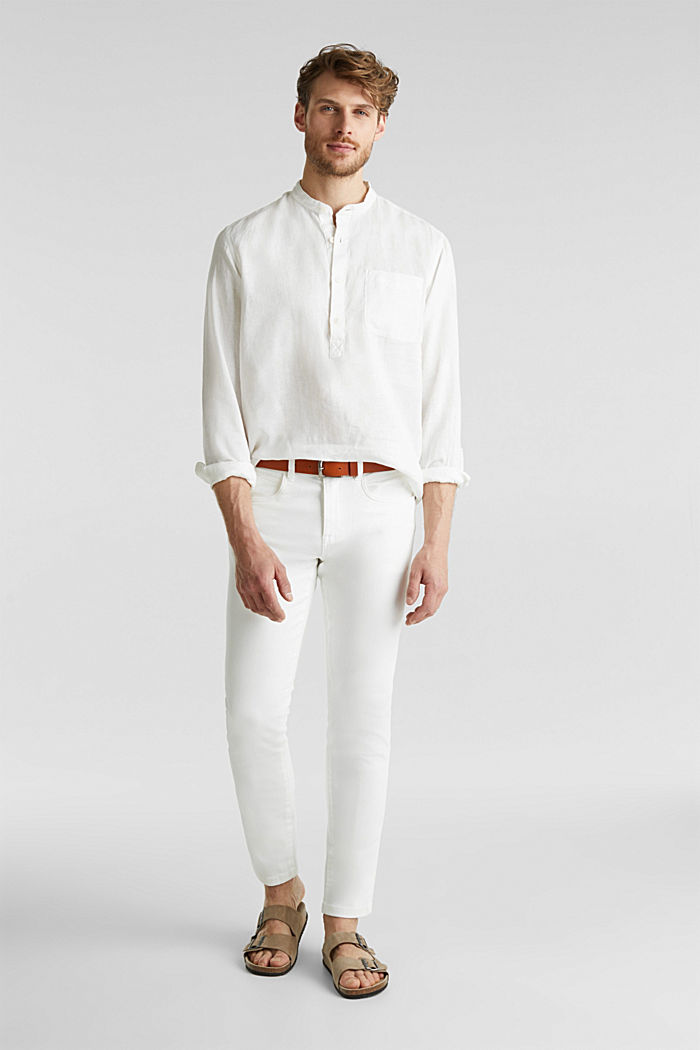 Made of linen: Shirt with a stand-up collar, OFF WHITE, detail image number 7