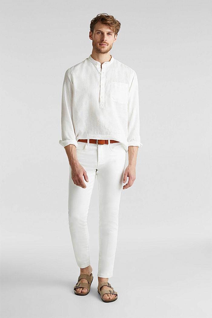 Aus Leinen: Hemd mit Stehkragen, OFF WHITE, detail image number 7